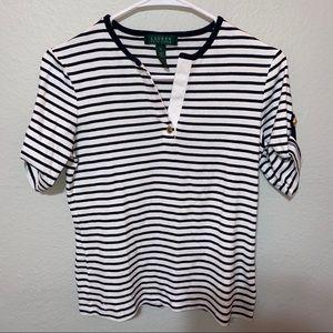 Lauren Ralph Lauren Black and White V Neck Shirt